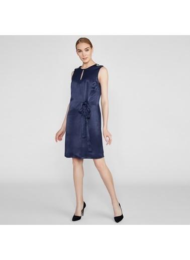Vekem-Limited Edition Kolsuz Omuzu Taş Detaylı Elbise Lacivert